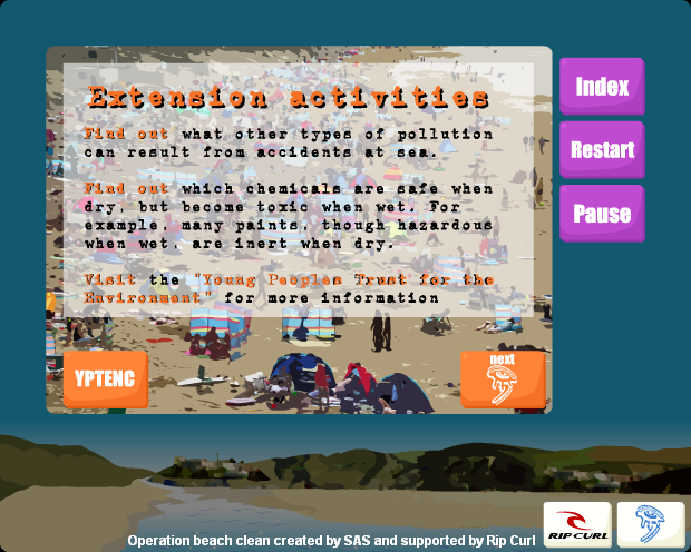 Surfers Against Sewage - Operation Beach Clean Flash Site Case KS3 Activities Page